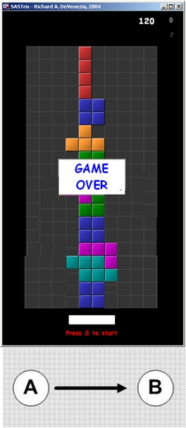 Game over screen in Tetris