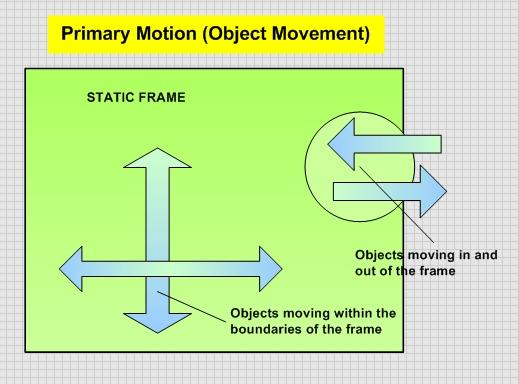 A diagram that depicts primary motion (object movement) in moving images